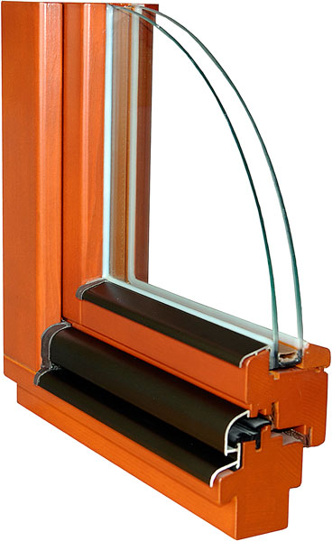řez dřevěným oknem IV68